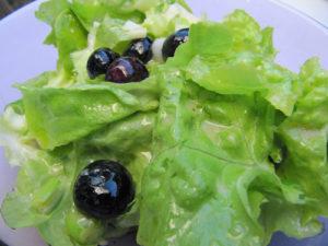 Eichblattsalat mit Frühlingszwiebeln und Blaubeeren