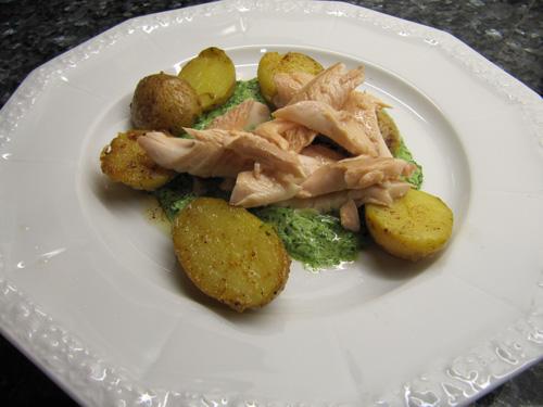Saibling mit Grüner Sauce und Kartoffeln aus dem Dampfgarer ála Johann Lafer Essen